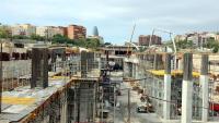 Vista de les obres de la futura estació ferroviària a la Sagrera