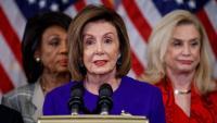 La presidenta de la Cambra de Representants, Nancy Pelosi, en la roda de premsa per anunciar l''impeachment' de Trump
