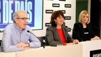 David Fernández, Elisenda Paluzie, Sílvia Cubo a la presentació
