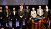 Foto de l'acte de presentació del Consell per la República a Brussel·les, amb els presidents Torra i Puigdemont al centre, el 8 de desembre de 2018