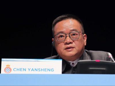 Chen Yansheng aquest matí en la Junta General d'Accionistes de l'Espanyol.