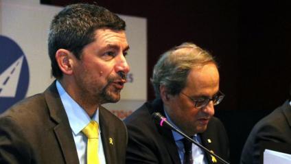 El president de la Cambra, Joan Canadell, al costat de Quim Torra