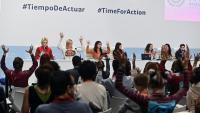 Membres del moviment Fridays for Future durant la roda de premsa que van fer ahir en la Cimera del Clima COP25 que té lloc a Madrid