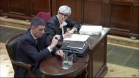El major Trapero , amb la seva advocada, Olga Tubau,  en la declaració com a testimoni al Suprem al març