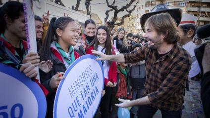 Quim Masferrer, conductor de 'La Marató', en un dels actes solidaris a Tàrrega