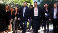 José Luis Ábalos , secretari d'organització del PSOE, entrava ahir al congrés del PSC acompanyat de Salvador Illa i Teresa Cunillera