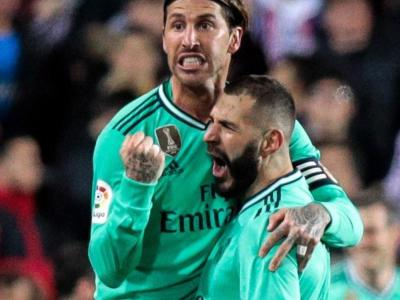 Ramos i Benzemá eufòrics en el final del partit