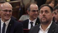 Raül Romeva, Oriol Junqueras, Jordi Turull i Jordi Sànchez, durant el judici de l'1-O