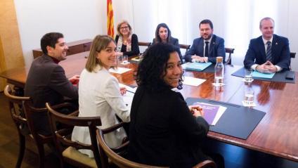Reunió d'Albiach, Aragonès i Budó pels pressupostos, el 17 de desembre passat