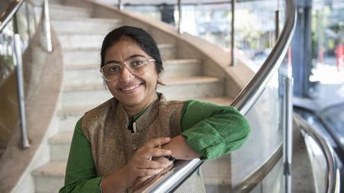 <b>Sunitha Krishnan, </b>a Barcelona, en un moment de l'entrevista