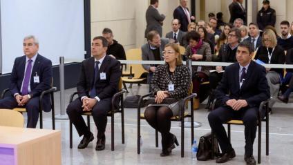 Els quatre acusats, en el primer dia del judici per l'1-O a l'Audiencia Nacional, ahir