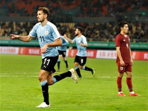 Stuani celebra un gol amb la selecció de l'Uruguai
