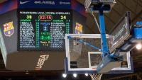 Vista del marcador del palau Blaugrana, on demà l'equip local serà el Joventut