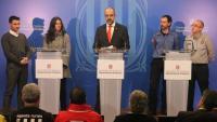 Roda de premsa del conseller d'Interior, Miquel Buch, acompanyat de representants dels serveis d'emergència catalans