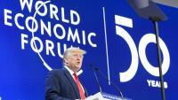 Trump, durant la seva intervenció, ahir, en el Fòrum de Davos