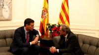 Sánchez i Torra en la reunió de Pedralbes
