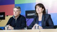 Jaume Bardolet, coordinador del comitè internacional de l'Assemblea, i Elisenda Paluzie, presidenta, durant un acte de l'ANC