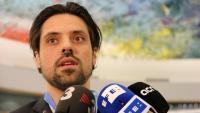 Olivier Peter, advocat suís de l'equip de defensa de Jordi Cuixart, durant la roda de premsa que ha fet aquest dimecres a Ginebra