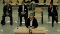 La intendenta dels Mossos Teresa Laplana , en la seva declaració a l'Audiencia Nacional, ahir. A darrere, el major Trapero