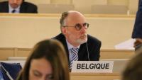 El representant de Bèlgica a la seu del Consell de Drets Humans de l'ONU durant l'examen de drets humans a Espanya