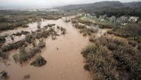 El riu Llobregat al seu pas per Abrera, desbordat pel temporal Glòria