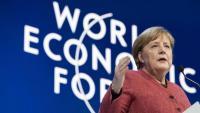 Merkel, intervenint ahir al Fòrum Econòmic Mundial, a Davos (Suïssa)