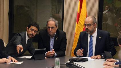 El president Torra i els consellers Buch i Calvet en una reunió de seguiment abans-d'ahir sobre les conseqüències de la tempesta