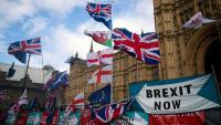 Banderes i pancartes a favor del 'Brexit', en una protesta davant el Parlament britànic