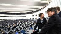Carles Puigdemont i Toni Comín a la seu del Parlament Europeu