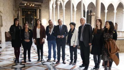 El president Quim Torra amb un grup d'eurodiputats que van visitar ahir també els presos a Lledoners
