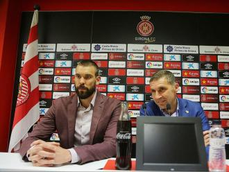 Marc Gasol i Delfí Geli, en la presentació d'un acord entre el Bàsquet Girona i el Girona FC