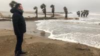 Lluís Soler, fotografiat dimarts en ple temporal 'Glòria' al seu pas pel Delta