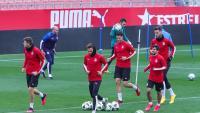 L'entrenament ahir del Girona
