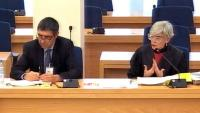 El major dels Mossos i la seva advocada, Olga Tubau , en l'interrogatori al coronel Pérez de los Cobos, en el judici a l'Audiencia Nacional, ahir