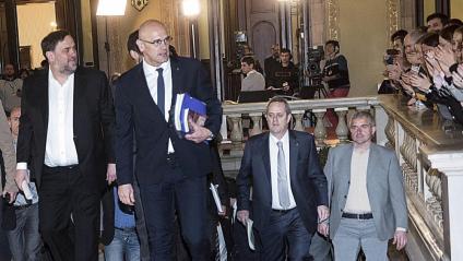 Junqueras, Romeva i Forn, arribant ahir al matí al Parlament