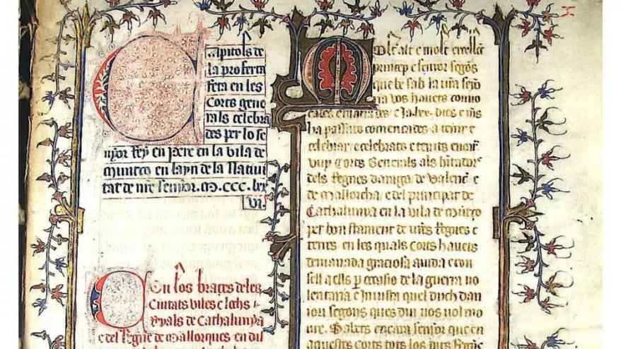 La primera pàgina del 'Llibre dels vuit senyals', amb la seva magnífica ornamentació.