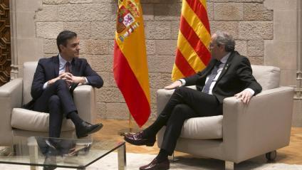 Pedro Sánchez i Quim Torra, el 6 de febrer al Palau de la Generalitat