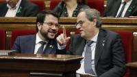 El president, Quim Torra, i el vicepresident, Pere Aragonès, la setmana passada al Parlament