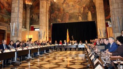 Imatge de la reunió del president Torra amb agents econòmics i institucions
