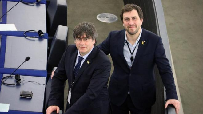 Carles Puigdemont i Toni Comín a l'Europarlament