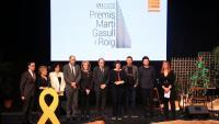 El president de la Generalitat, Quim Torra, el president de la Plataforma per la Llengua, Òscar Escuder i de la Torre i la consellera Mariàngela Vilallonga Vives als VII Premis Mari Gasull i Roig