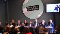 Miguel Vicente, segon per l'esquerra, portaveu de Tech Spirit Barcelona, amb la resta d'organitzadors, ahir, a Barcelona.