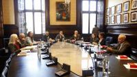 Reunió dels membres de la mesa del Parlament ahir, dilluns, a la cambra catalana