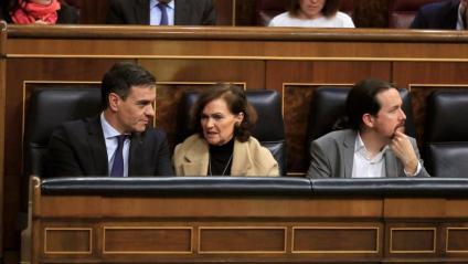 Pedro Sánchez, Carmen Calvo i Pablo Iglesias