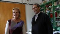 La presidenta de la Caixa de la Solidaritat, Núria de Gispert, i el vicepresident Ernest Benach