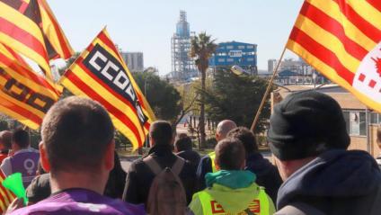 Treballadors en vaga amb l'empresa IQOXE de fons