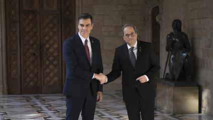 Els presidents Sánchez i Torra a la reunió a la Generalitat