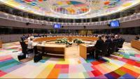 Imatge dels caps d'estat i de govern de la Unió Europea reunits a partir d'avui a Brussel·les