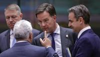 Costa,  primer ministre portuguès, parlant ahir amb l'holandès Rutte, en presència del grec Mitsotakis i el romanès Iohannis
