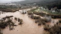 Vistes del riu Llobregat al seu per Abrera després del Glòria